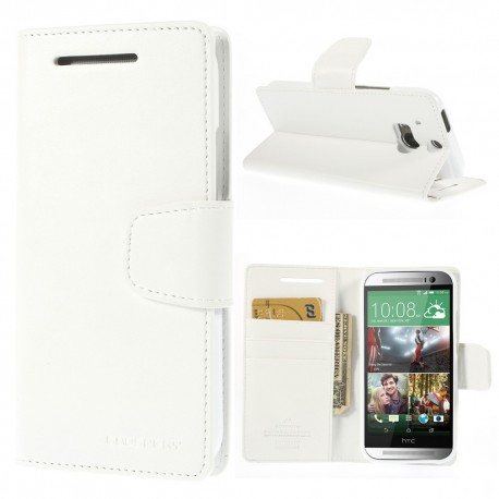 HTC One M8 - etui na telefon i dokumenty - Sonata białe