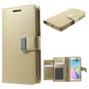 Samsung Galaxy S6 Edge - etui na telefon i dokumenty - Rich Diary złote
