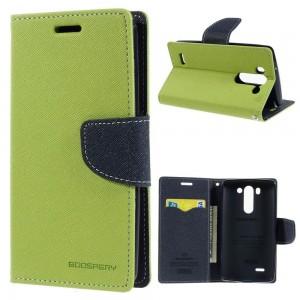 LG G3 S - etui na telefon i dokumenty - Fancy Goospery zielone