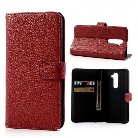 LG G2 - etui na telefon i dokumenty - Litchi czerwone