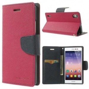 Huawei Ascend P7 - etui na telefon i dokumenty - Fancy ciemnoróżowe