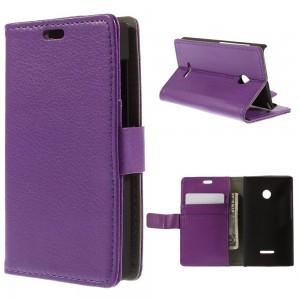Microsoft Lumia 435 - etui na telefon i dokumenty - Litchi purpurowe