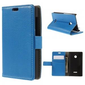 Microsoft Lumia 435 - etui na telefon i dokumenty - Litchi niebieskie