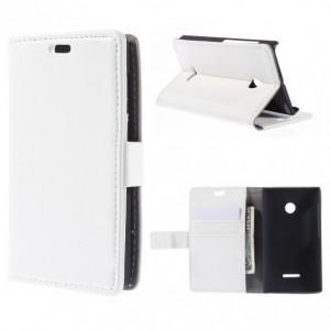 Microsoft Lumia 435 - etui na telefon i dokumenty - Litchi białe