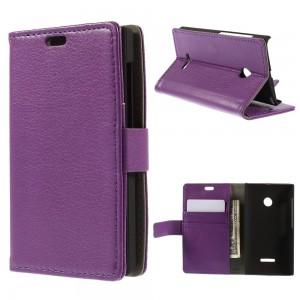 Microsoft Lumia 532 - etui na telefon i dokumenty - Litchi purpurowe