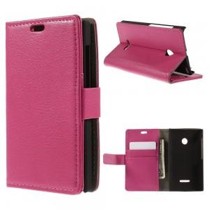 Microsoft Lumia 532 - etui na telefon i dokumenty - Litchi różowe