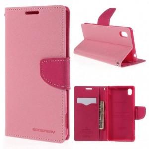 Sony Xperia M4 Aqua - etui na telefon i dokumenty - Fancy różowe
