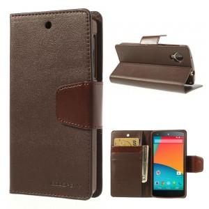 LG Nexus 5 - etui na telefon i dokumenty - Sonata ciemnobrązowy