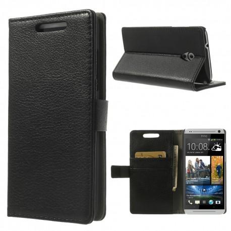 HTC Desire 500 - etui na telefon i dokumenty - Litchi czarne