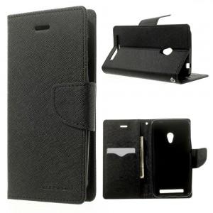 Sony M4 Aqua - etui na telefon i dokumenty - Fancy czarne (KR)