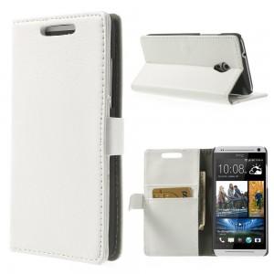 HTC Desire 500 - etui na telefon i dokumenty - Litchi białe