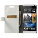 HTC Desire 500 Portfel Etui – Litchi Białe