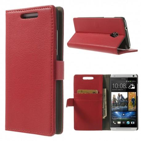 HTC Desire 500 - etui na telefon i dokumenty - Litchi czerwone