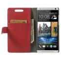 HTC Desire 500 Portfel Etui – Litchi Czerwony