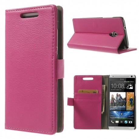 HTC Desire 500 - etui na telefon i dokumenty - Litchi różowe