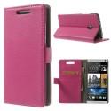 HTC Desire 500 Portfel Etui – Litchi Różowy