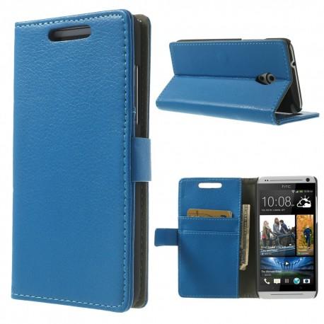 HTC Desire 500 - etui na telefon i dokumenty - Litchi niebieskie