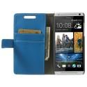 HTC Desire 500 Portfel Etui – Litchi Niebieski