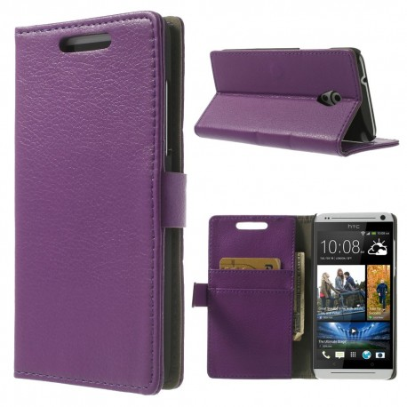 HTC Desire 500 - etui na telefon i dokumenty - Litchi purpurowe