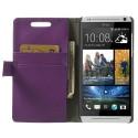 HTC Desire 500 Portfel Etui – Litchi Purpurowy