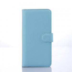 HTC Desire 626 - etui na telefon i dokumenty - Litchi niebieskie