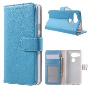 LG Nexus 5X - etui na telefon i dokumenty - Litchi niebieskie