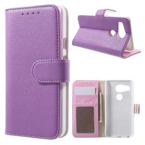 LG Nexus 5X - etui na telefon i dokumenty - Litchi purpurowe