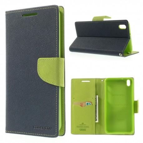 HTC Desire 816 - etui na telefon i dokumenty - Fancy niebieskie