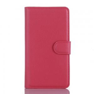 LG Zero H650 - etui na telefon i dokumenty - Litchi różowe