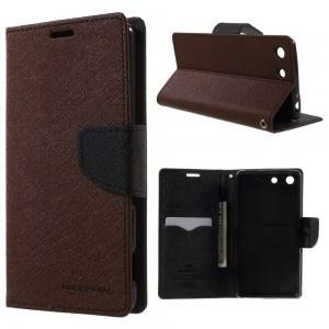Sony Xperia M5 - etui na telefon i dokumenty - Fancy brązowe