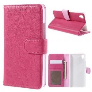 Huawei Y6 - etui na telefon i dokumenty - Litchi różowe