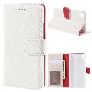 Huawei Y6 - etui na telefon i dokumenty - Litchi białe