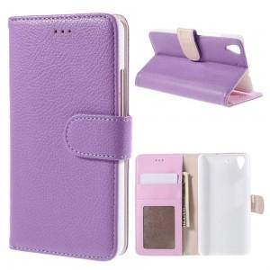 Huawei Y6 - etui na telefon i dokumenty - Litchi purpurowe