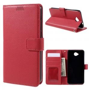 Microsoft Lumia 650 - etui na telefon i dokumenty - Litchi czerwone