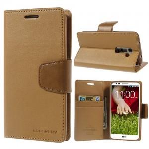 LG G2 - etui na telefon i dokumenty - Sonata Goospery brązowe