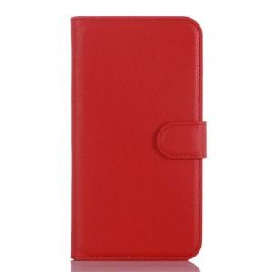 Microsoft Lumia 550 - etui na telefon i dokumenty - Litchi czerwone