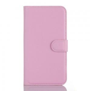 Microsoft Lumia 550 - etui na telefon i dokumenty - Litchi różowe