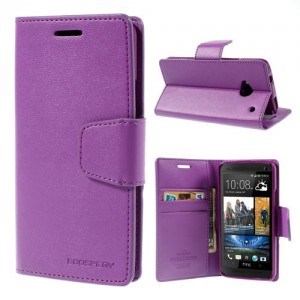 HTC One M7 - etui na telefon i dokumenty - Sonata purpurowe