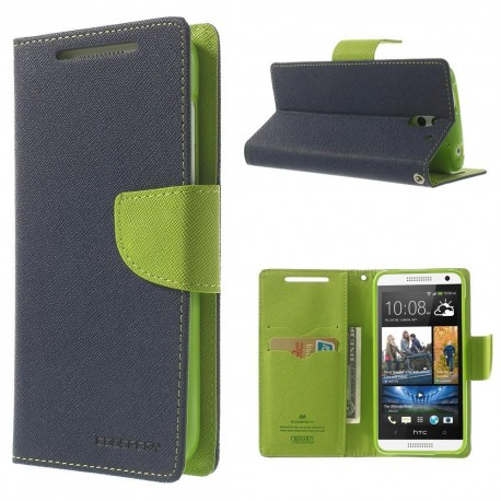 HTC Desire 610 - etui na telefon i dokumenty - Fancy niebieskie