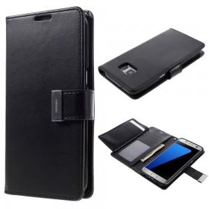 Samsung Galaxy S7 Edge - etui na telefon i dokumenty - Rich Diary czarne