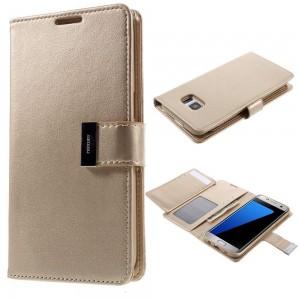 Samsung Galaxy S7 Edge - etui na telefon i dokumenty - Rich Diary złote