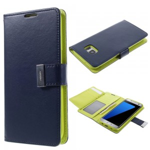 Samsung Galaxy S7 Edge - etui na telefon i dokumenty - Rich Diary niebieskie