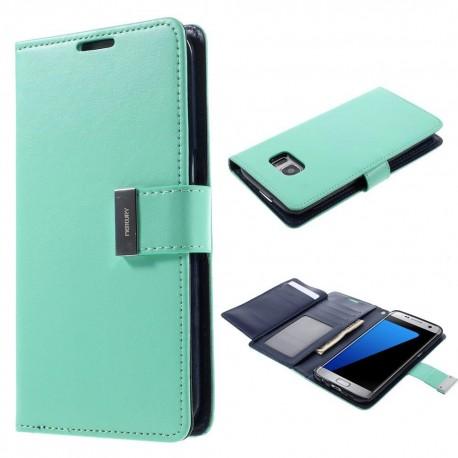 Samsung Galaxy S7 Edge - etui na telefon i dokumenty - Rich Diary cyjan