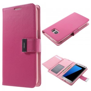 Samsung Galaxy S7 Edge - etui na telefon i dokumenty - Rich Diary różowe