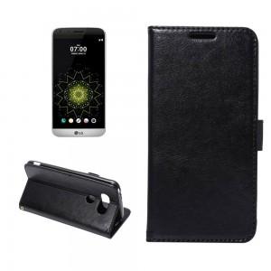 LG G5 H850 - etui na telefon i dokumenty - Crazy Horse czarne