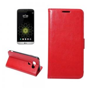 LG G5 H850 - etui na telefon i dokumenty - Crazy Horse czerwone