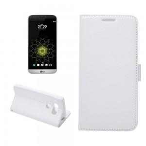 LG G5 H850 - etui na telefon i dokumenty - Crazy Horse białe