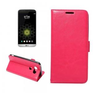 LG G5 H850 - etui na telefon i dokumenty - Crazy Horse różowe