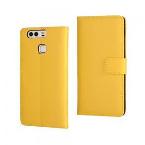 Huawei P9 - skórzane etui na telefon i dokumenty - żółte
