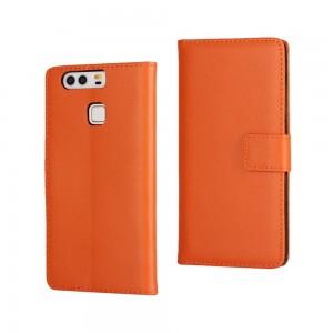 Huawei P9 - skórzane etui na telefon i dokumenty - pomarańczowe